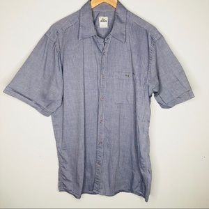 Lacoste blue striped short sleeve button down